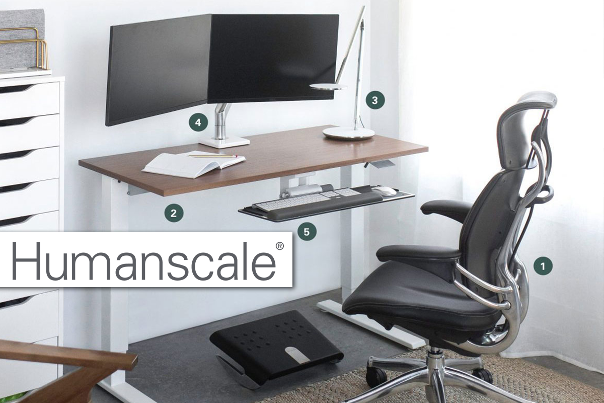 Humanscale office furniture ergonomic task light chair adjustable table desk monitor arm sit-stand sit to stand keyboard tray