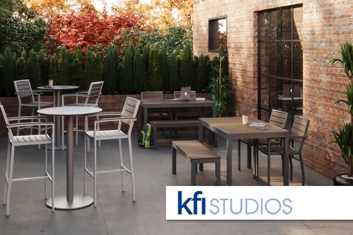 KFI Studios office furniture outdoor cafe dining steel wood seating chair table bench indoor-outdoor