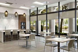 Stream Realty Aubry Plaza furniture provided and installed by Vanguard Environments